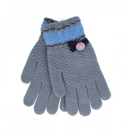 Dotykové rukavice pre mobilný telefón Mašlička šedé veľ. S