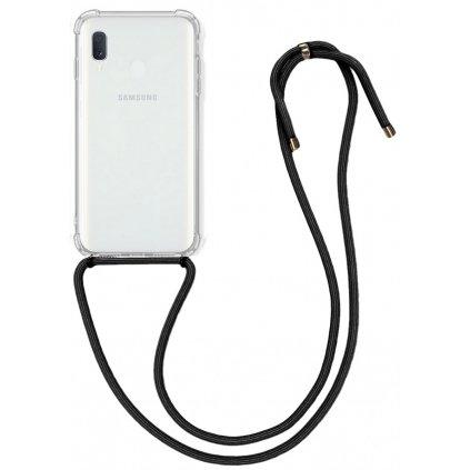 Zadný silikónový kryt na Samsung A20e s čiernou šnúrkou priehľadný