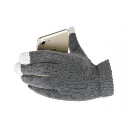Dotykové rukavice pre mobilný telefón šedé veľ. S