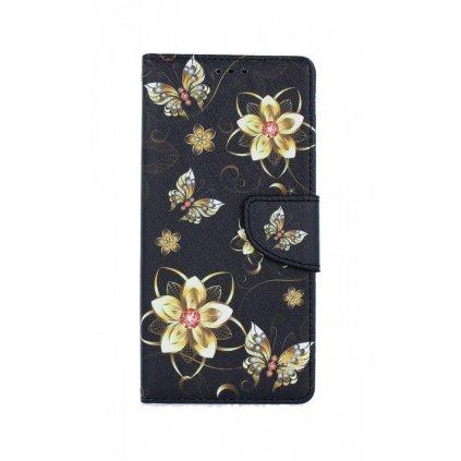 Flipové púzdro na Samsung A21s Zlaté kvety