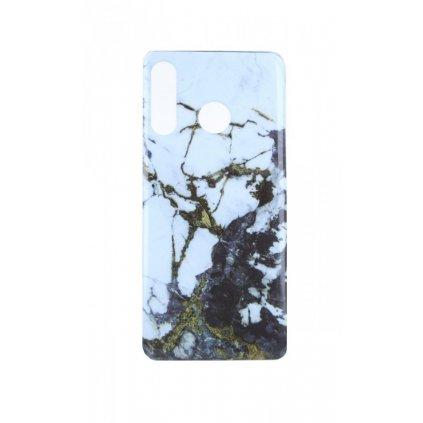 Zadný pevný kryt na Huawei P30 Lite Marble Glitter bielo-čierny