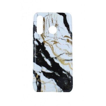 Zadný silikónový kryt na Huawei P30 Lite Mramor bielo-čierny