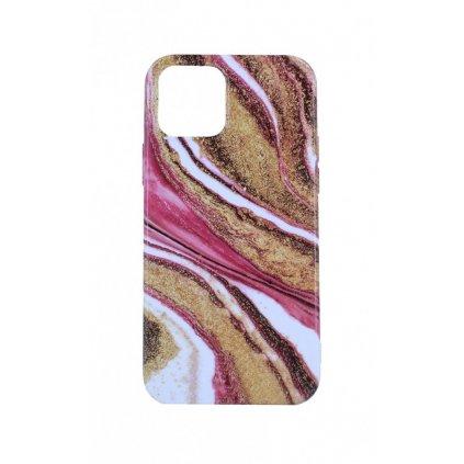 Zadný silikónový kryt na iPhone 12 Pro Mramor ružovo-zlatý