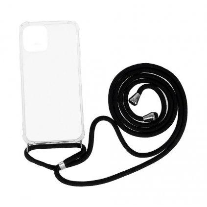 Zadný silikónový kryt na iPhone 12 s čiernou šnúrkou priehľadný