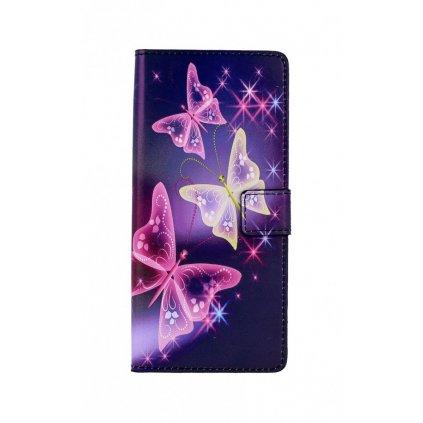 Flipové púzdro na Samsung A21s Fialové s motýlikmi koženka