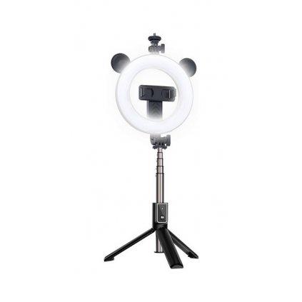 Bluetooth selfie tyč Ring Light P40D-4 s LED osvetlením čierna
