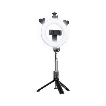 Bluetooth selfie tyč Ring Light P40D-5 s LED osvetlením čierna