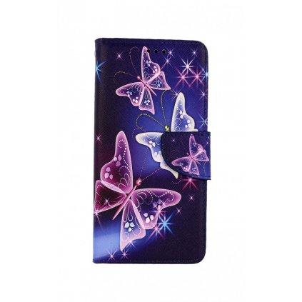 Flipové púzdro na Samsung A02s Modré s motýlikmi