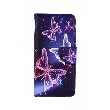 Flipové púzdro na Samsung A12 Modré s motýlikmi