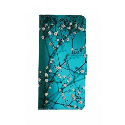 Flipové púzdro na Samsung A32 5G Modré s kvetmi