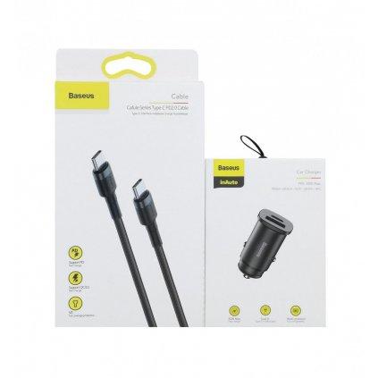 Rýchlonabíjačka do auta BaseuPPS 30W vrátane USB-C dátového kábla čierna