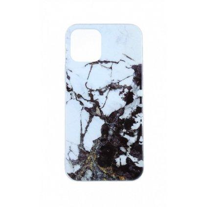 Zadný pevný kryt na iPhone 11 Pro Marble Glitter bielo-čierny