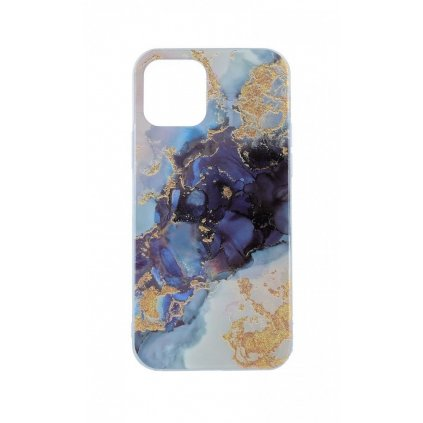 Zadný pevný kryt na iPhone 12 Pro Max Marble Glitter modrý