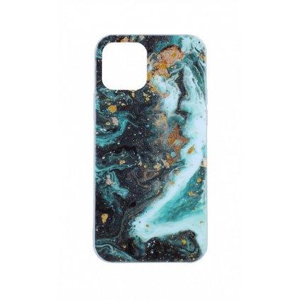 Zadný pevný kryt na iPhone 12 Pro Marble Glitter zelený