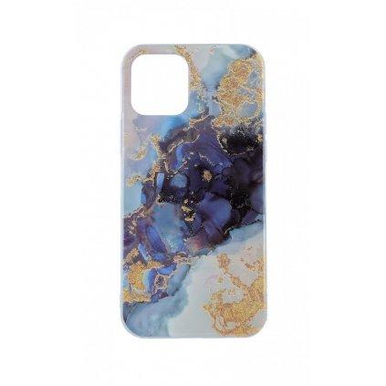 Zadný pevný kryt na iPhone 12 Pro Marble Glitter modrý