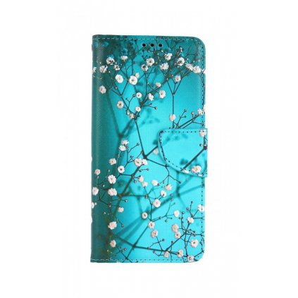 Flipové puzdro na Xiaomi Redmi 9T Modré s kvetmi