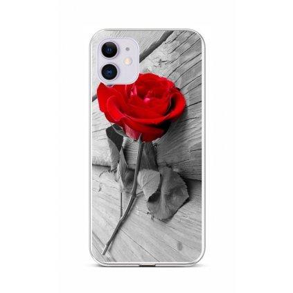 Zadný silikónový kryt na iPhone 11 Červená ruža