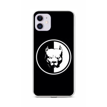 Zadný silikónový kryt na iPhone 11 Čiernobiely pitbull