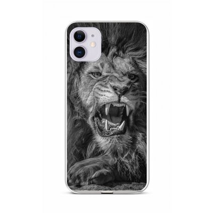 Zadný silikónový kryt na iPhone 11 Čiernobiely lev