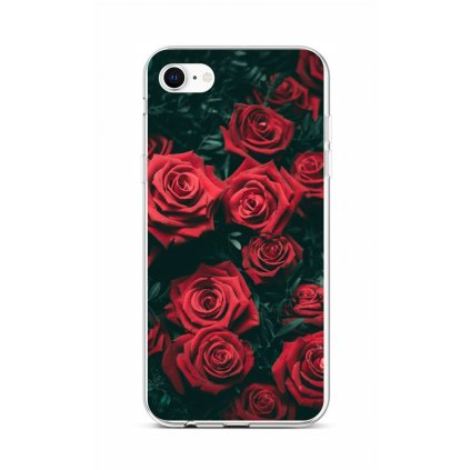 Zadný silikónový kryt na iPhone SE 2020 Červené ružičky
