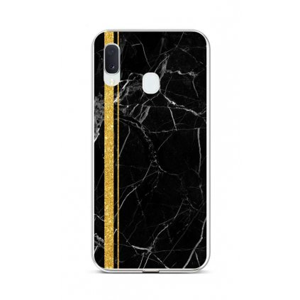 Zadný silikónový kryt STYLE na Samsung A20e Mramor čierno-zlatý