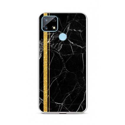 Zadný silikónový kryt STYLE na Realme 7i Mramor čierno-zlatý