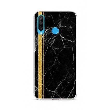 Zadný silikónový kryt STYLE na Huawei P30 Lite Mramor čierno-zlatý