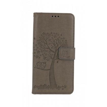 Flipové puzdro na Xiaomi Redmi Note 10 Šedý strom sovičky