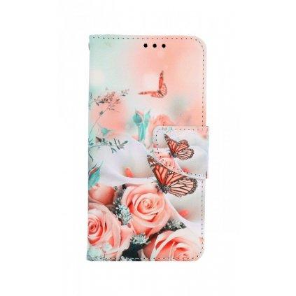 Flipové púzdro na iPhone 11 Ruže s motýľom