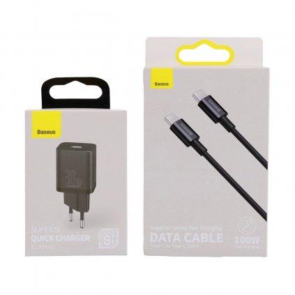 Rýchlonabíjačka Baseus Super Si 30W vrátane dátového kábla USB-C čierna