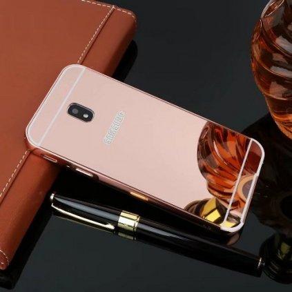 Zadný zrkadlový kryt na Samsung J3 2017 ružový