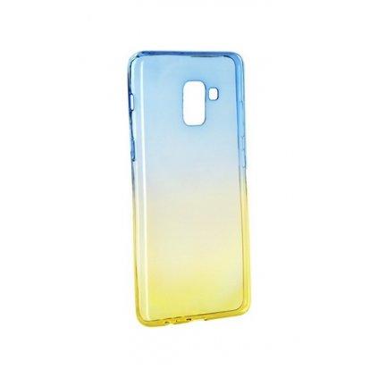 Zadný silikónový kryt Forcell na Samsung A8 2018 dúhový modrý