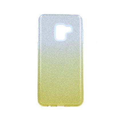 Zadný pevný kryt na Samsung A8 2018 glitter strieborno-oranžový