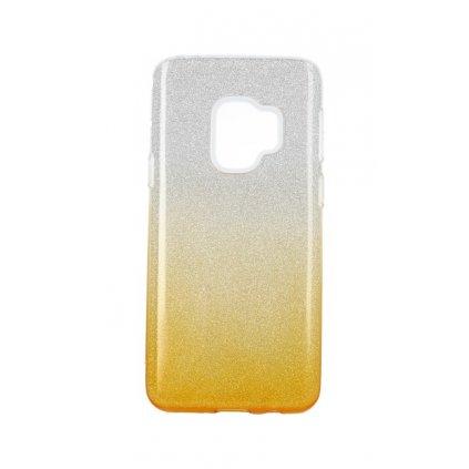 Zadný pevný kryt na Samsung S9 glitter strieborno-oranžový