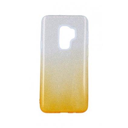 Zadný pevný kryt na Samsung S9 Plus glitter strieborno-oranžový