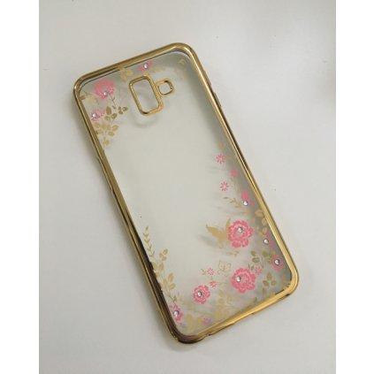 Zadný silikónový kryt na Samsung J6 + zlatý s ružovými kvetmi