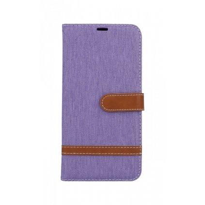 Flipové puzdro na Samsung J6 + džínsové fialové