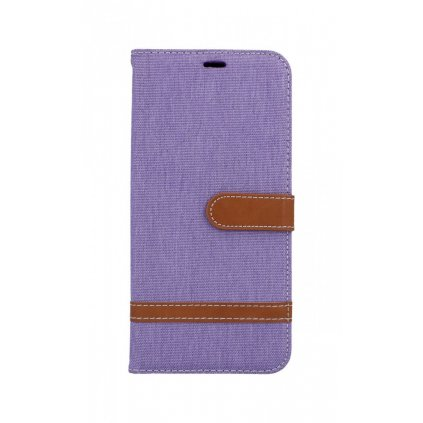 Flipové puzdro na Samsung J4 + džínsové fialové