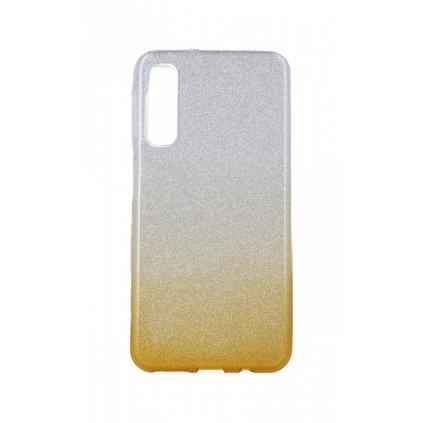 Zadný pevný kryt na Samsung A7 glitter strieborno-oranžový