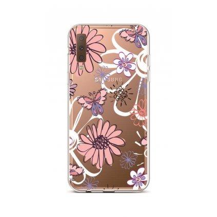 Zadný silikónový kryt na Samsung A7 Flowers