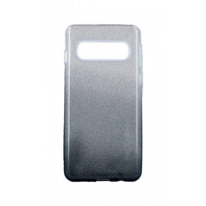 Zadný pevný kryt na Samsung S10 glitter strieborno-čierny