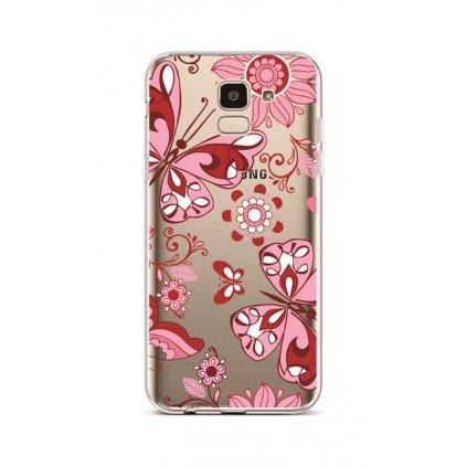 Zadný silikónový kryt na Samsung J6 Pink Butterfly