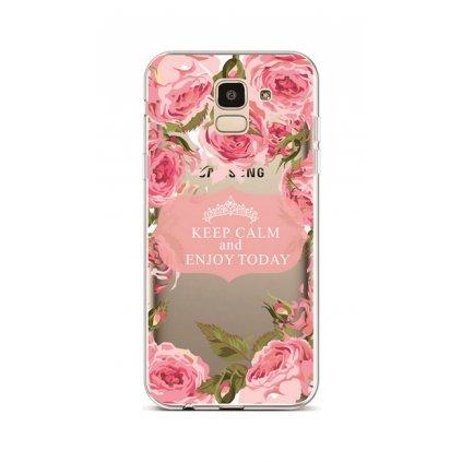Zadný silikónový kryt na Samsung J6 Keep Calm Flowers 1