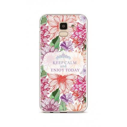 Zadný silikónový kryt na Samsung J6 Keep Calm Flowers 2