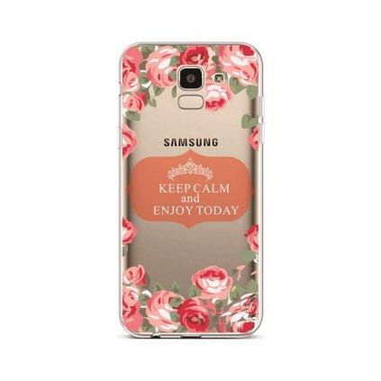 Zadný silikónový kryt na Samsung J6 Keep Calm Flowers 3