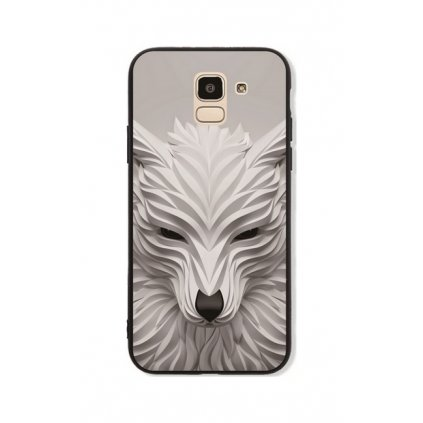 Zadný pevný kryt GLASS na Samsung J6 Biely vlk