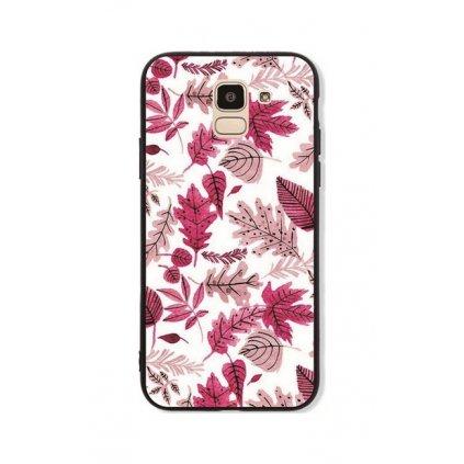 Zadný pevný kryt GLASS na Samsung J6 Pink Leaves