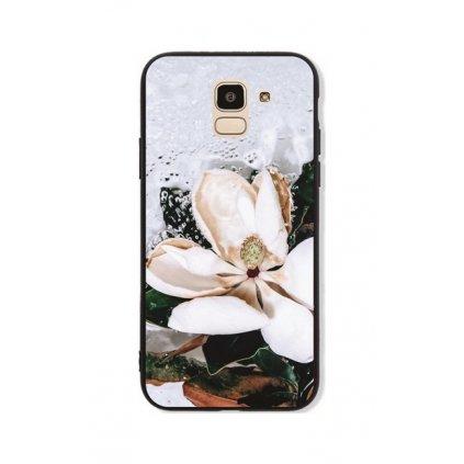 Zadný pevný kryt GLASS na Samsung J6 Biely kvet