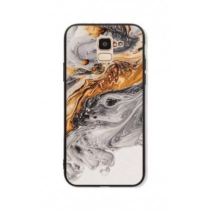 Zadný pevný kryt GLASS na Samsung J6 Marble šedo-zlatý