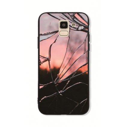 Zadný pevný kryt GLASS na Samsung J6 Pink Broken